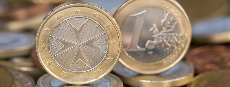 A one Euro coin from the EU member country Malta