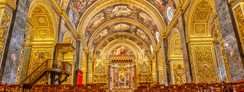 Valetta, Malta - January 21, 2015: St John'€™s Co-Cathedral a gem of Baroque art and architecture interior. Valetta, Malta